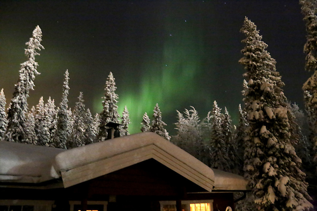 Finnland: Nordlichter aurora-borealis über einer Hütte imWald
